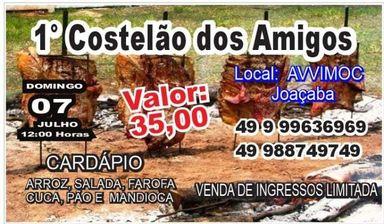 1º Costelão dos Amigos será neste domingo, 07, em Joaçaba