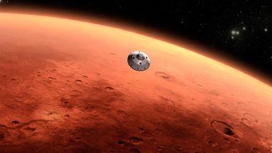 Saiba quais as missões espaciais para ficar de olho em 2020. Acima: percepção artística da chegada de uma sonda em Marte (Foto: NASA)