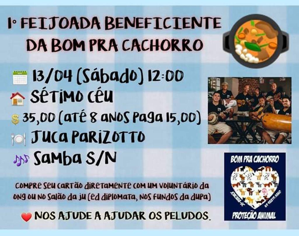 Ong Bom pra Cachorro promove feijoada beneficente neste sábado (13)