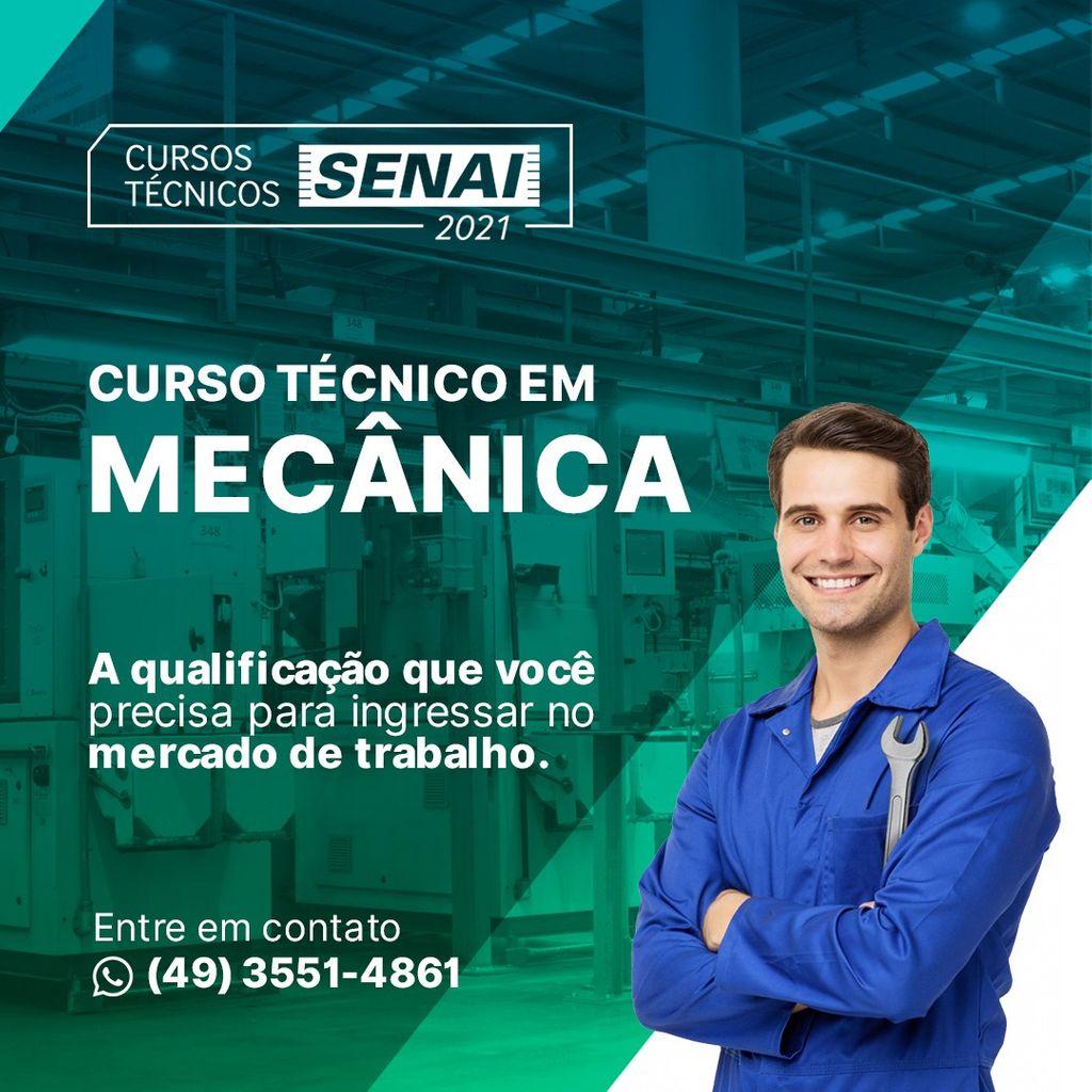 Senai Joaçaba está com vagas abertas para o Curso Técnico em Mecânica