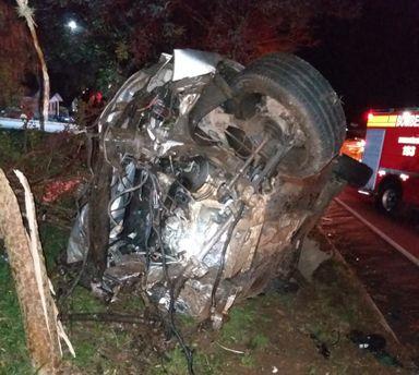 O Jetta de Herval d´Oeste tinha dois ocupantes, um morreu e o motorista fugiu
