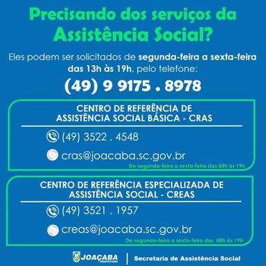 Secretaria de Assistência Social de Joaçaba orienta população para solicitação de benefícios e informações