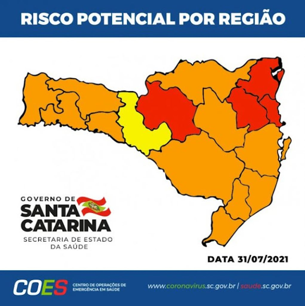 Com novos critérios, mapa de risco mostra quatro regiões de SC em nível gravíssimo