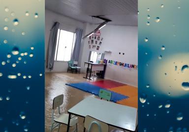 Creche Tempo de Aprender foi afetada pela chuva em Joaçaba e algumas turmas tem as aulas suspensas