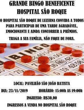 Hospital São Roque realiza Bingo Beneficente