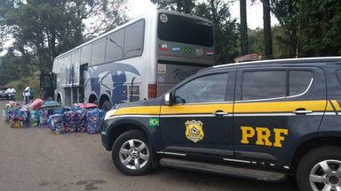 PRF e Receita Federal retém grande quantia de mercadorias na BR-153 em Concórdia