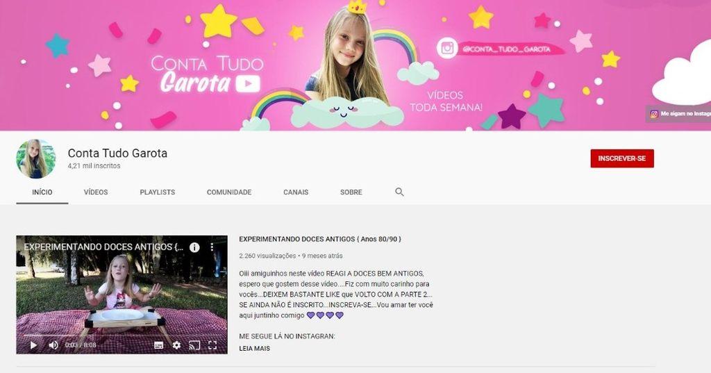 """Canal """"Conta Tudo Garota"""" tem mais de 4 mil inscritos"""