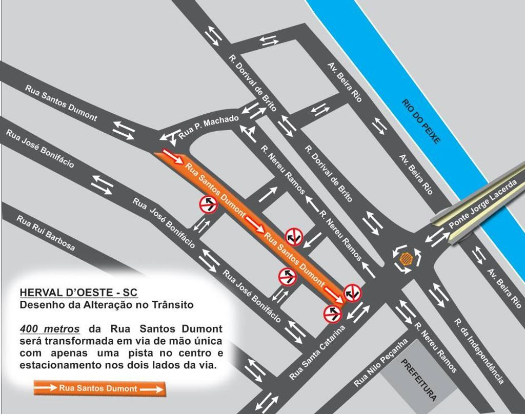 Mapa com a mudança no trecho da rua Santos Dumont