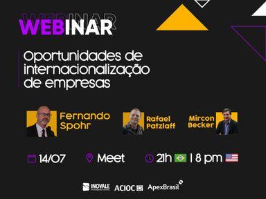 Webinar Oportunidades de internacionalização de empresas acontece nesta terça-feira (14)