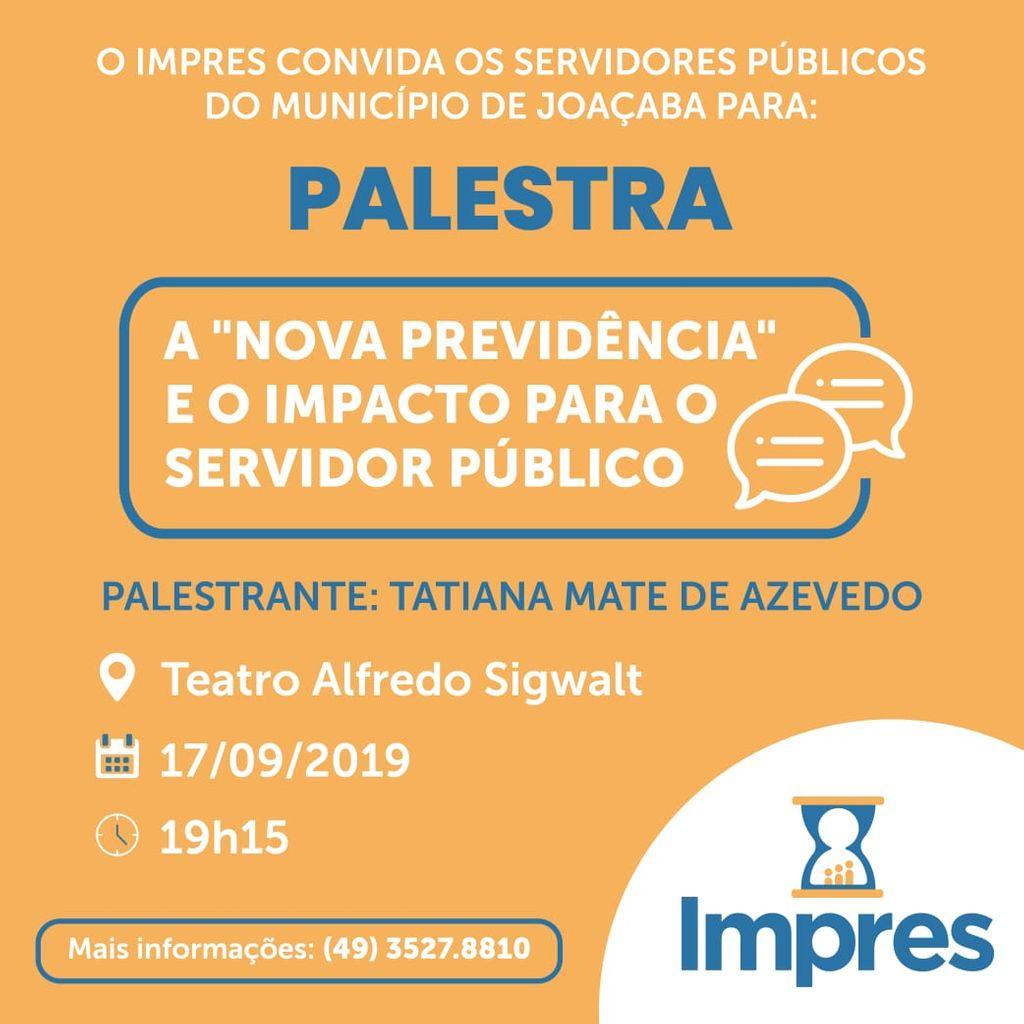 IMPRES realizará palestra para servidores públicos sobre a Nova Previdência