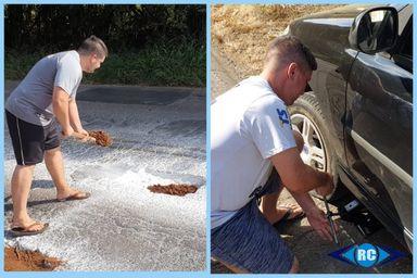Morador usa terra para tapar buracos da SC-150 que continuam causando prejuízos a motoristas em Capinzal