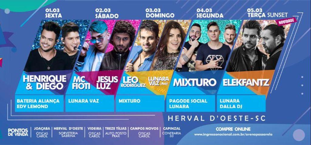Liga dos Blocos anuncia 6 shows nacionais e venda de ingressos para o carnaval na Arena Passarela em Herval d'Oeste