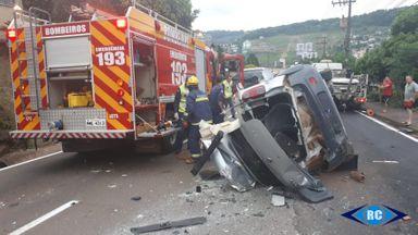 Acidente entre quatro veículos mata uma pessoa em Capinzal