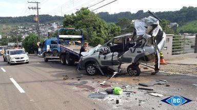 Imagens de câmeras de segurança mostram  momento do acidente que matou uma pessoa em Capinzal
