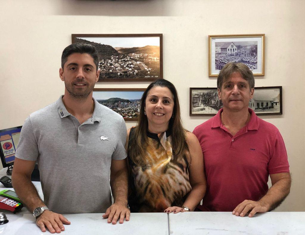 Atuais sócios - Rodrigo, Marilú e Nilton José Pedrini