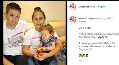 Sofia Helena é sorteada e ganhará tratamento contra a AME