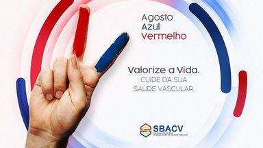 Campanha agosto azul vermelho. Valorize a vida. Cuide da sua saúde vascular!