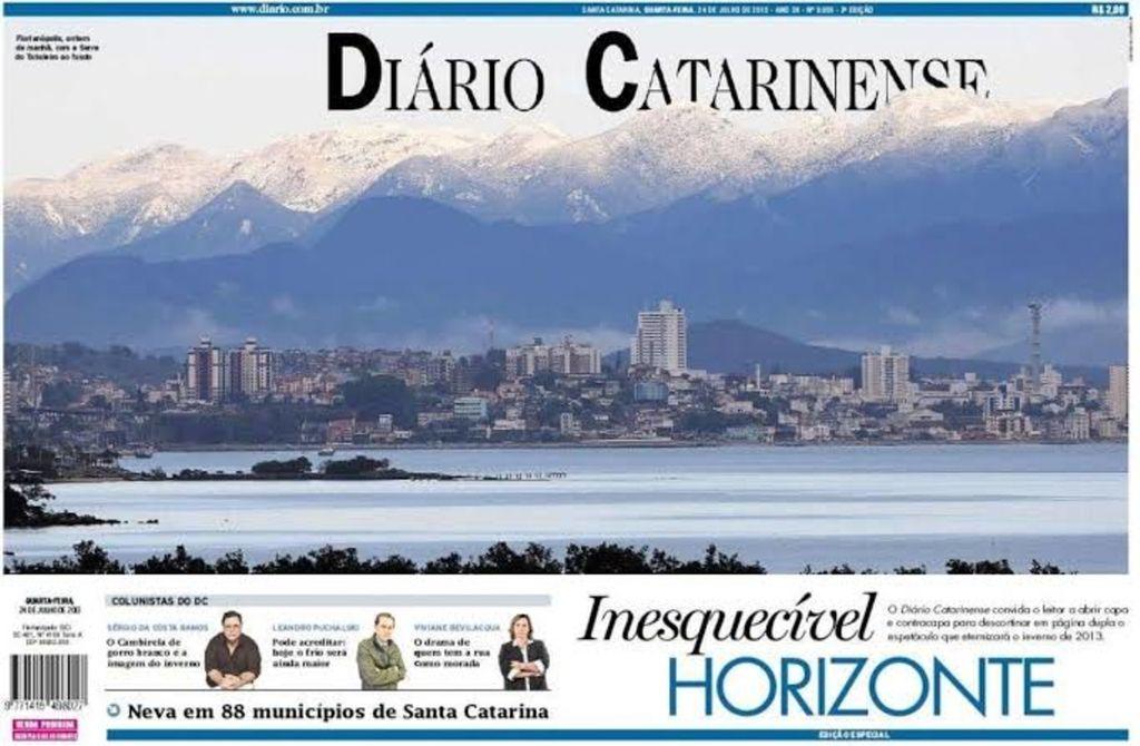 Picos nevados na Grande Florianópolis na histórica nevada de 2013