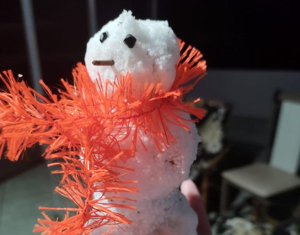Moradores do interior de Herval fazem boneco de neve