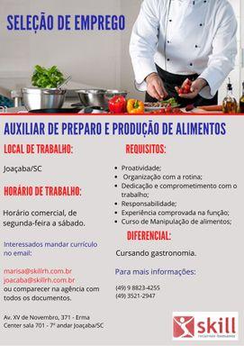 Auxiliar de preparo e produção de Alimentos
