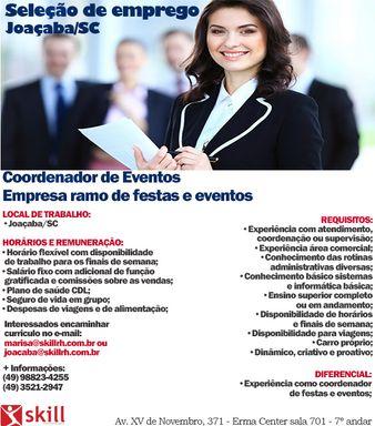Coordenador de Eventos – Joaçaba/SC