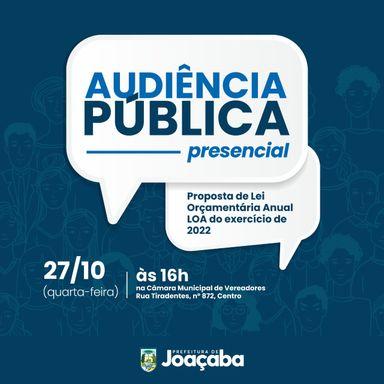 Prefeitura de Joaçaba convida para Audiência Pública da Lei Orçamentária Anual - LOA do exercício de 2022