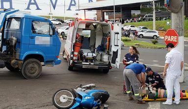 Motociclista grávida é atingida por caminhão em Joaçaba