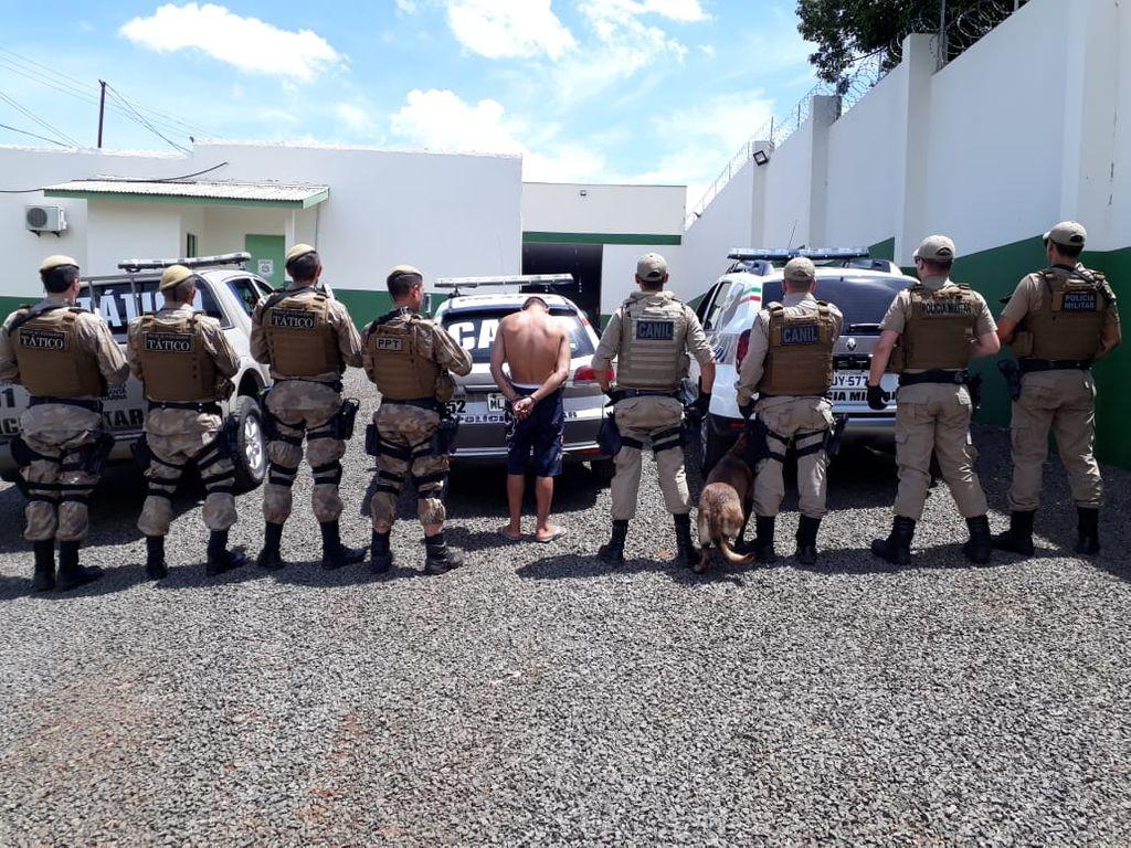 Prisão foi feita pelo PPT, Canil e Rádio patrulha da PM.