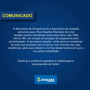 Rua Angelina Machado de Lima estará interditada nesta sexta-feira em Joaçaba
