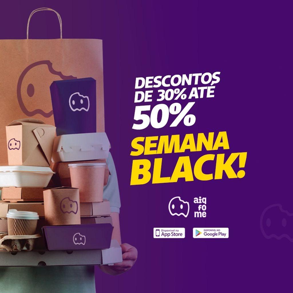 O app Aiqfome traz descontos de 30% a 50% de desconto para a Black Friday em Joaçaba, Herval e Luzerna.