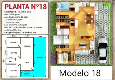 Casa de madeira pinus nova 3 quartos