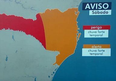 Chuva forte deve ocorrer em Santa Catarina — Foto: Reprodução/NSC TV