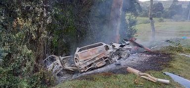 Carro bate em árvore, pega fogo e motorista morre em SC