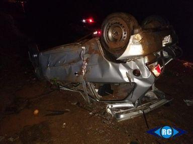 Jovem morre após capotamento de veículo na SC-135, em Pinheiro Preto