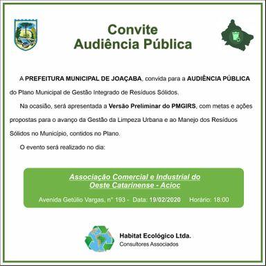 Audiência Pública para tratar sobre Plano Municipal de Gestão Integrada de Resíduos Sólidos de Joaçaba acontece na próxima semana