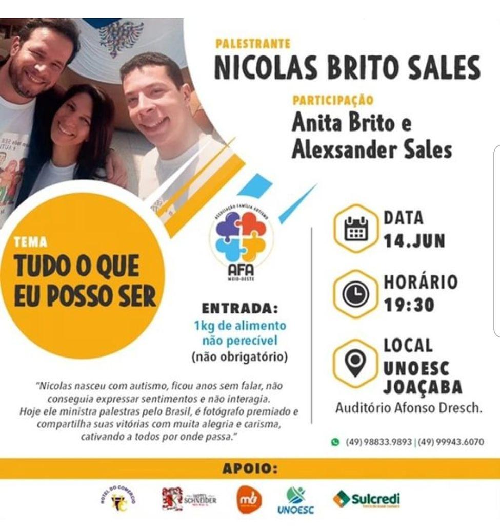 Jovem autista que é exemplo de superação fará palestra em Joaçaba no dia 14 de junho