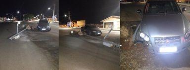 Motorista abandona veículo após colidir contra poste em Campos Novos