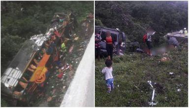 Ônibus tomba na BR-376 e move equipes de SC e do PR no resgate