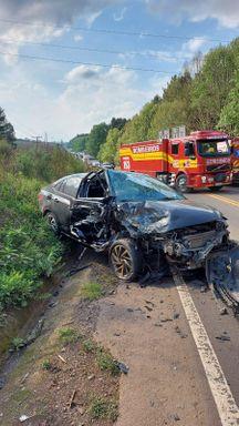Veículo com placas de Joaçaba se envolve em acidente em Fraiburgo