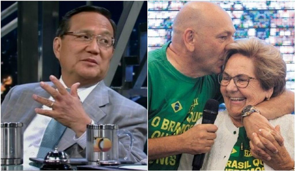 Médico Wong e Luciano Hang e a mãe — Foto: Montagem G1