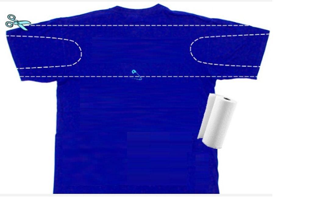 Ilustração de como cortar uma camiseta e transformar em máscara
