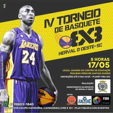 Aberta as inscrições para IV Torneio de Basquete 3x3 FIBA de Herval d' Oeste