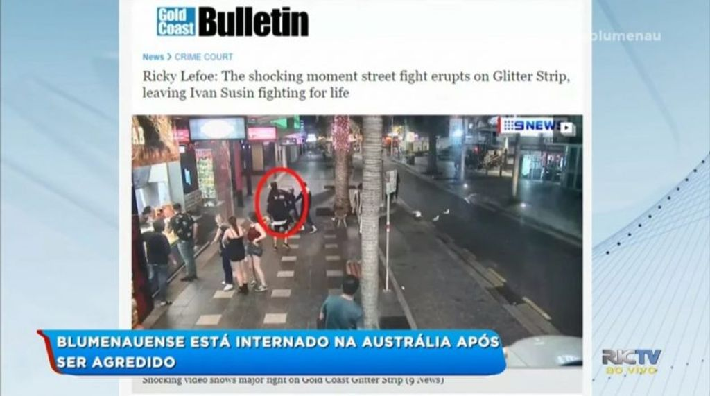 Imagens de câmeras da região flagraram o momento que Ivan foi agredido – Foto: RICTV/Reprodução/ND