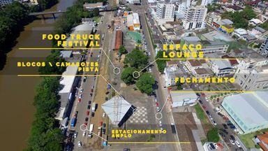 Local onde o evento irá acontecer e espaços que serão criados.