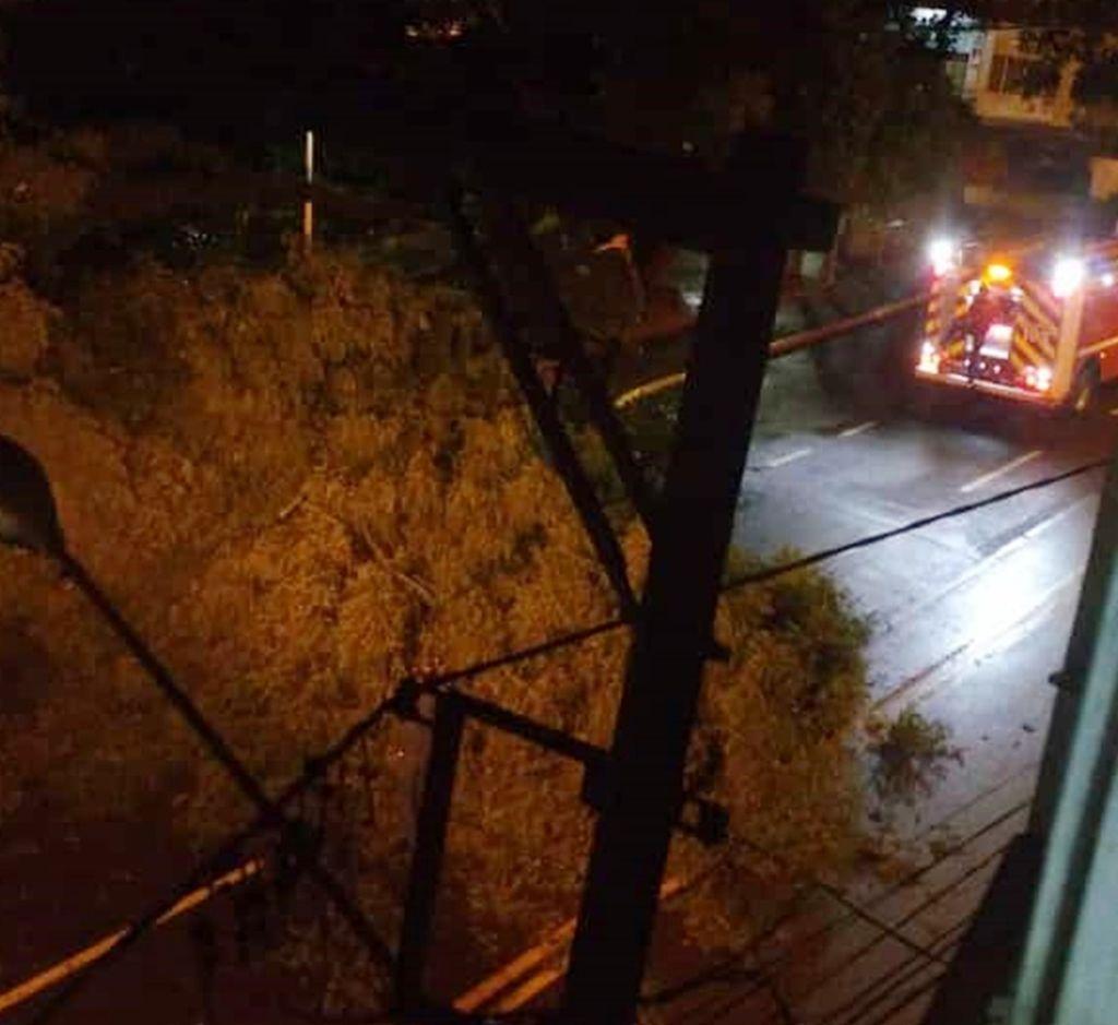 Bombeiros atuavam na ocorrência de queda de árvore (Foto:Yuri de Oliveira)
