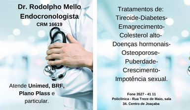 Dr Rodolpho Melo - Médico Endocrinologista atende em Joaçaba